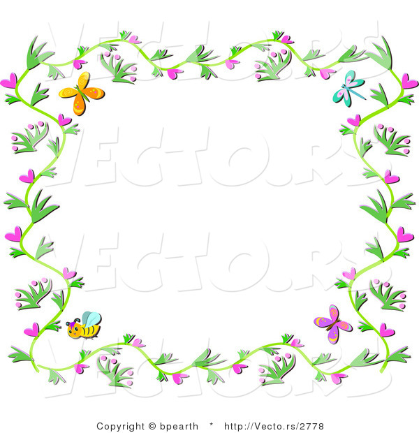 Vector of Floral Vines Border with Hearts, Bees and Butterflies