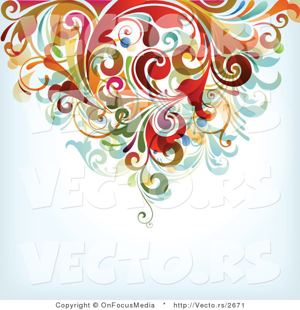 Vector of Floral Vines Top Border Background Design