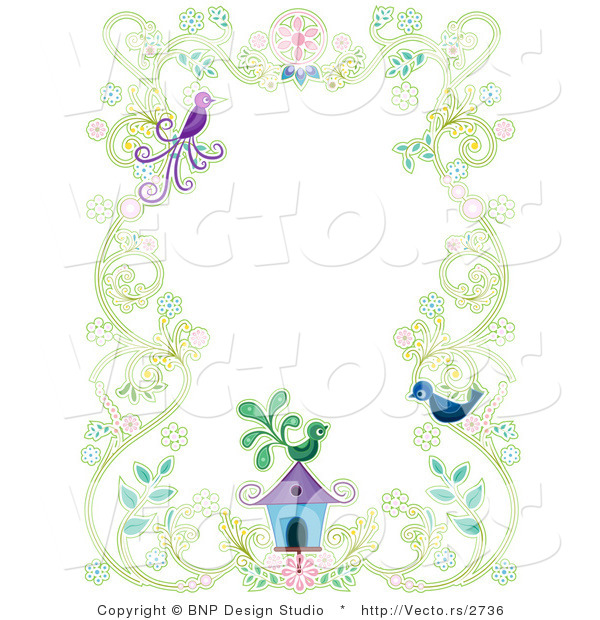 Vector of Floral Vines with Two Birds and a Bird House - Background Border Design