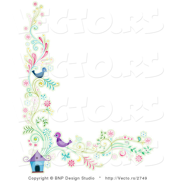 Vector of Floral Vines with Two Birds Beside a House - Border Background Design