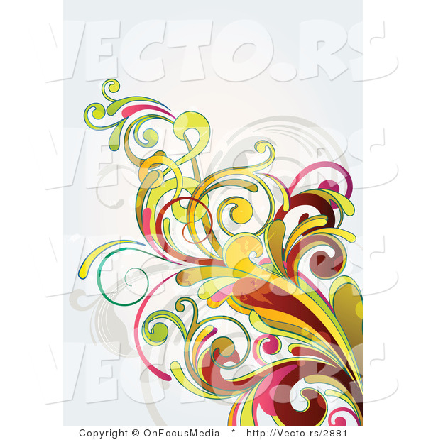 Vector of Flourish Vines on off White Background Version 8