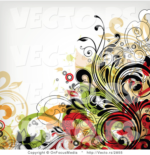 Vector of Flourish Vines with White Background Version 10