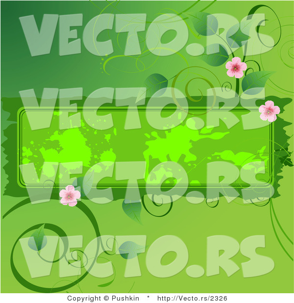 Vector of Flowering Green Vines Around a Grungy Blank Text Box Background Design Element