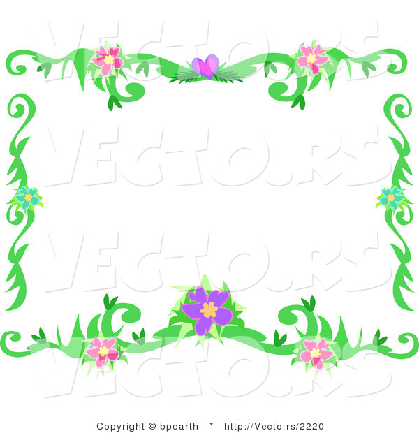 Vector of Flowering Vines Border Frame Design