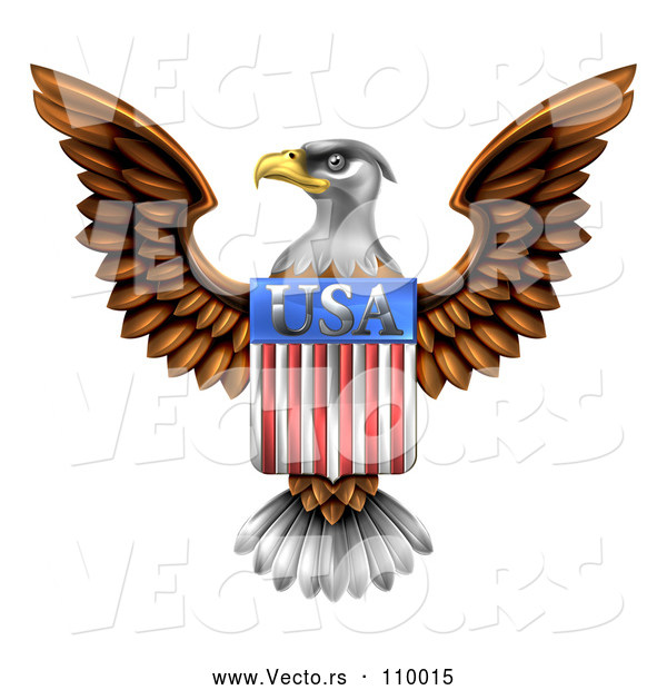 Vector of Flying American Bald Eagle with a USA Flag Shield