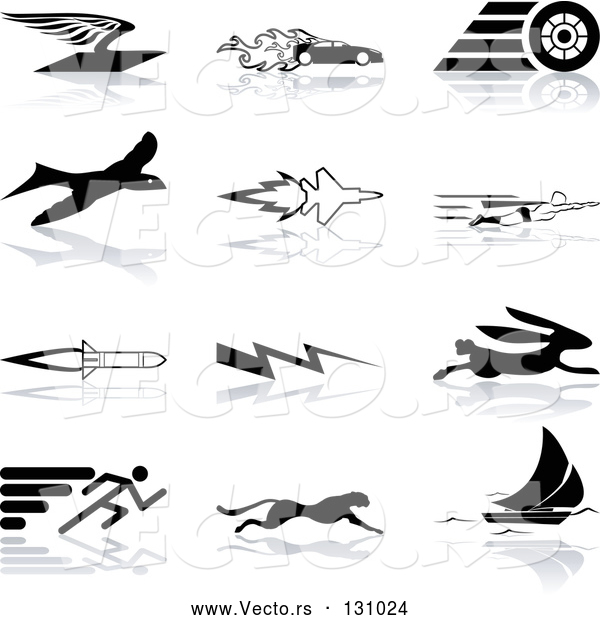 Vector of Flying Envelope, Race Car, Tire, Bird, Jet, Super Hero, Rocket, Lightning Bolt, Hare, Sprinter, Cheetah, and Sail Boat, over a White Background
