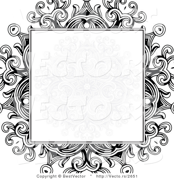 Vector of Formal Blank Copyspace Box over a Black Floral Design on White Background Border Design
