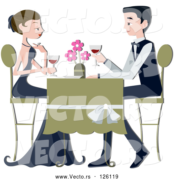 Vector of Formal Couple Drinking Red Wine at a Restaurant