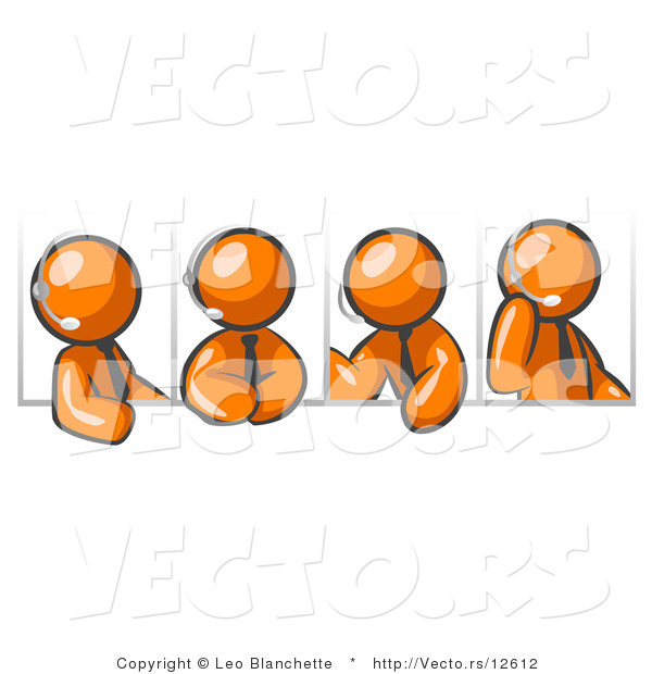 Vector of Four Different Orange Guys Wearing Headsets and Having a Discussion During a Phone Meeting