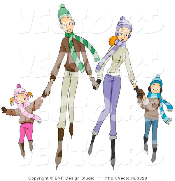 Vector of Four Happy Caucasian Family Members Ice Skating