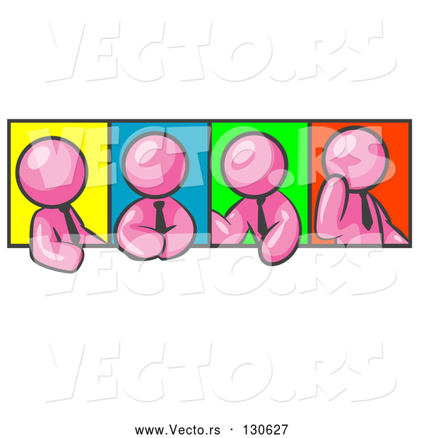Vector of Four Pink Men in Different Poses Against Colorful Backgrounds, Perhaps During a Meeting