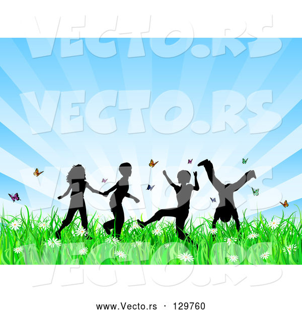 Vector of Four Silhouetted KChildren Running, Holding Hands and Doing Somersaults in a Field of Butterflies and Spring Flowers over a Bursting Blue Background
