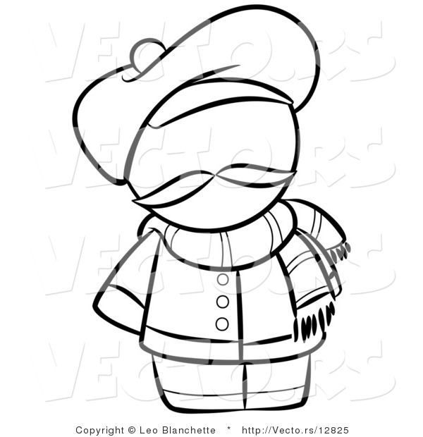 Vector of French Person with a Hat and Scarf - Coloring Page Outlined Art