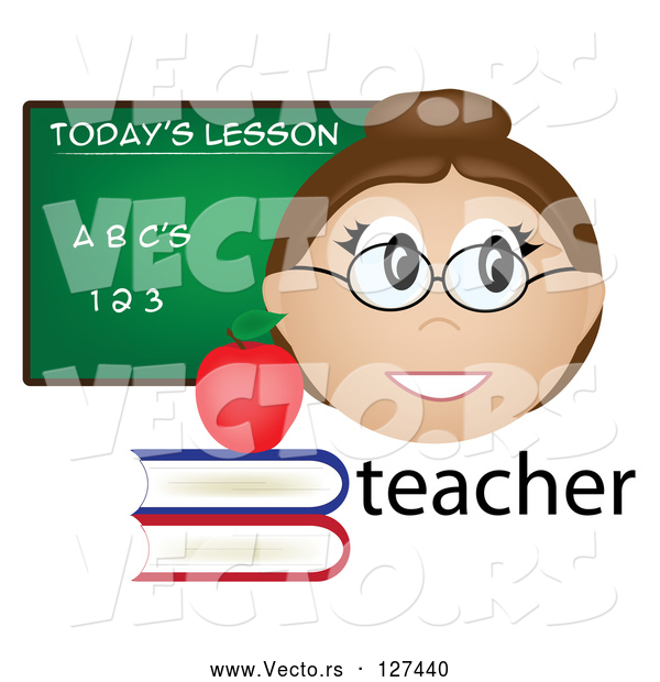Vector of Friendly Female Caucasian Teacher with the Word, Books and Chalk Board