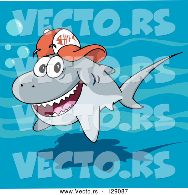 : Vector of Friendly Gray Shark Wearing a Fish Bone Baseball Cap