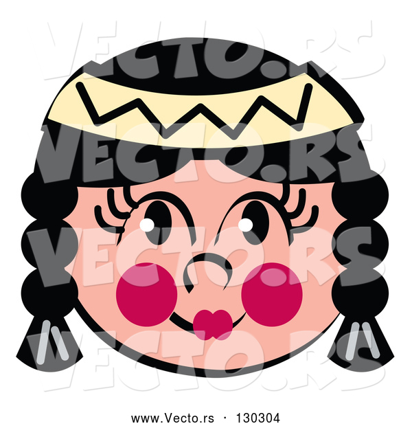 Vector of Friendly Native American Indian Girl's Face with Braids, Flushed Cheeks and a Headband