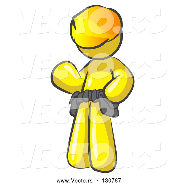 Vector of Friendly Yellow Construction Worker or Handyman Wearing a Hardhat and Tool Belt and Waving