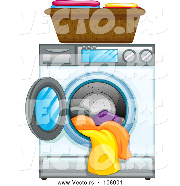 Vector of Front Loading Washing Machine with Clean Laundry