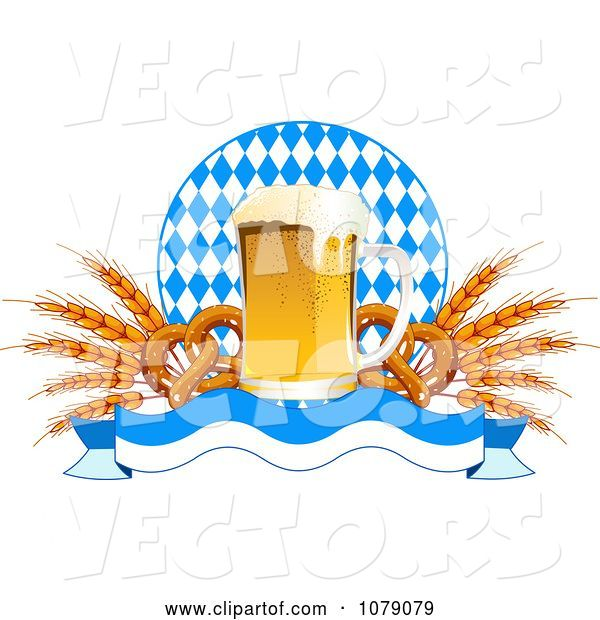 Vector of Frothy Oktoberfest Beer with Soft Pretzels and Wheat over a Banner and Diamonds