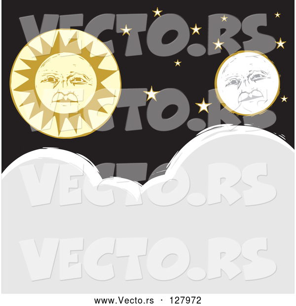 Vector of Full Moon and Sun Faces with Stars over Clouds