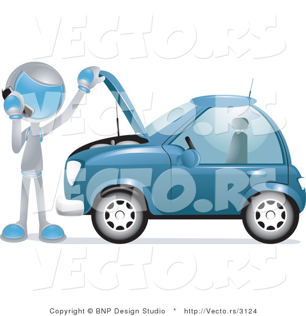 Vector of Futuristic Character Calling a Towing Company by a Broken down Car