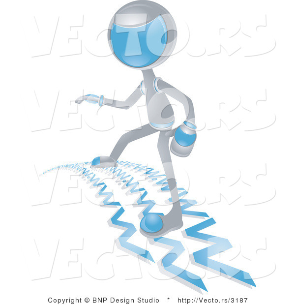 Vector of Futuristic Character Surfing the Web