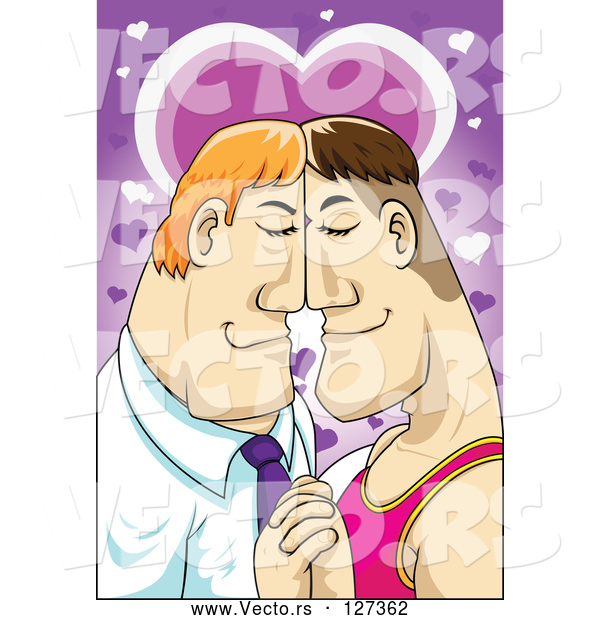 Vector of Gay Couple Resting Their Faces Together and Holding Hands