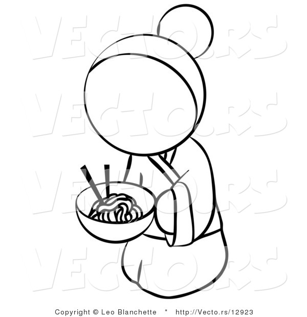Vector of Geisha Woman Eating Noodles - Coloring Page Outlined Art