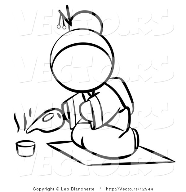 Vector of Geisha Woman Pouring Tea - Coloring Page Outlined Art