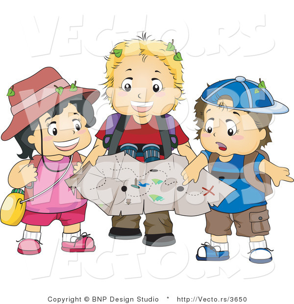 Vector of Girl and 2 Boys Exploring Outdoors with a Map