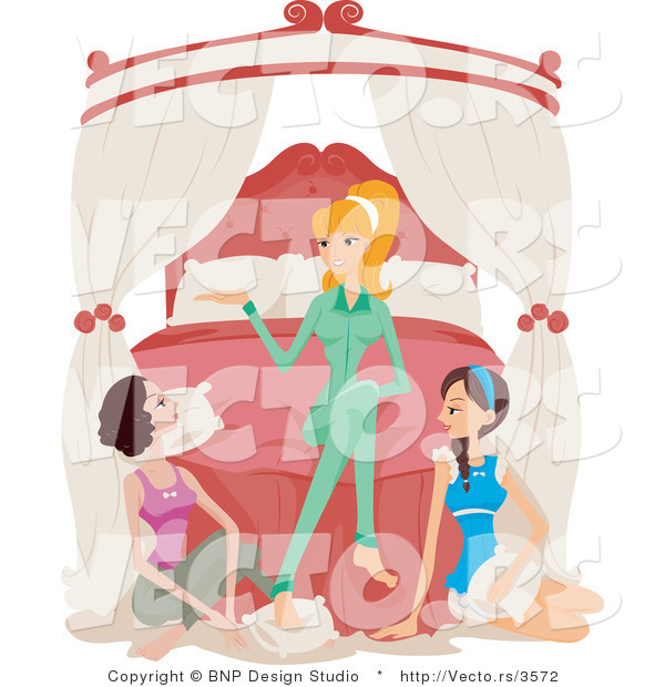 Vector of Girl and Two Brunette Friends Talking at a Sleepover