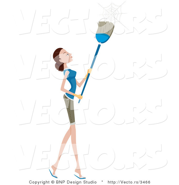 Vector of Girl Brushing down Cobwebs with a Broom