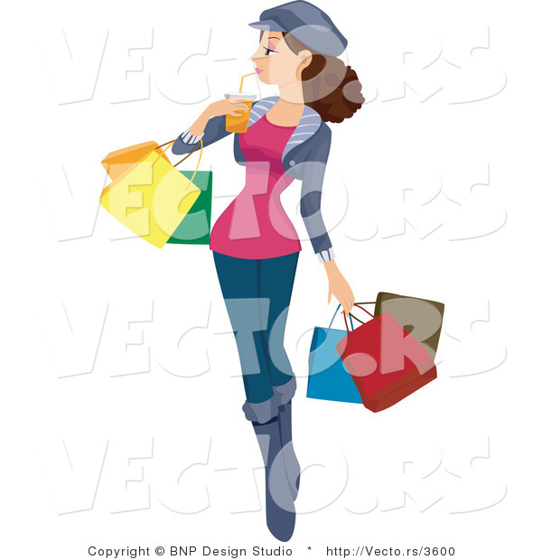 Vector of Girl Drinking Beverage While Carrying Shopping Bags