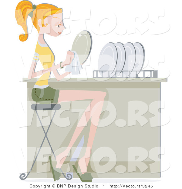 Vector of Girl Drying Clean Dishes