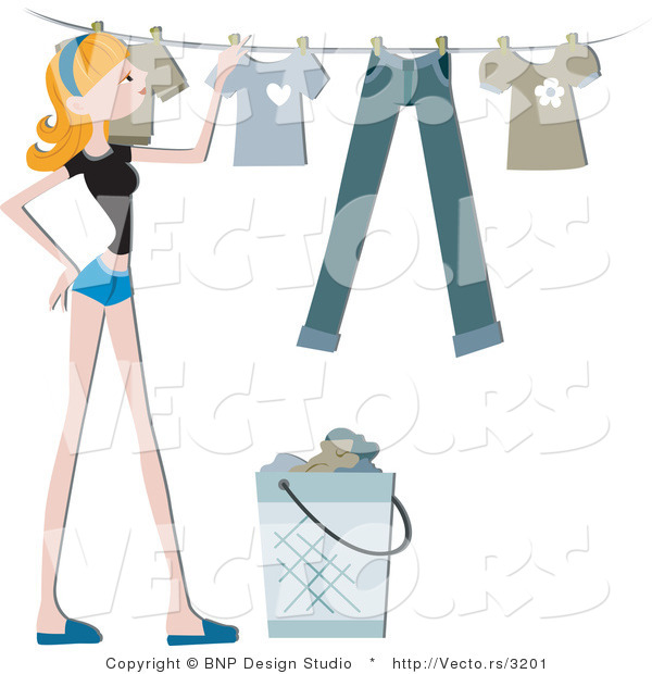 Vector of Girl Hanging Clean Laundry on a Clothes Line