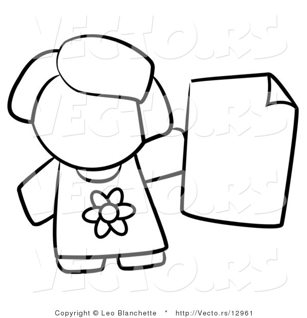 Vector of Girl Holding a Blank Paper - Coloring Page Outlined Art