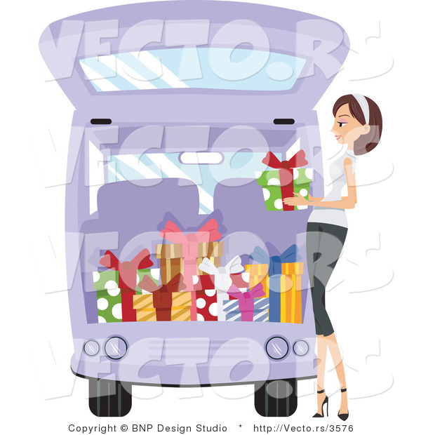 Vector of Girl Loading Presents into a Van