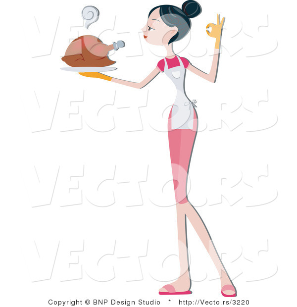 Vector of Girl Serving a Hot Turkey on a Platter