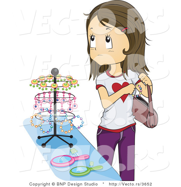 Vector of Girl Stealing Jewelry at a Store