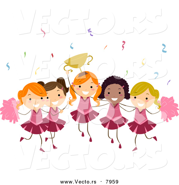 Vector of Girls Cheerleading