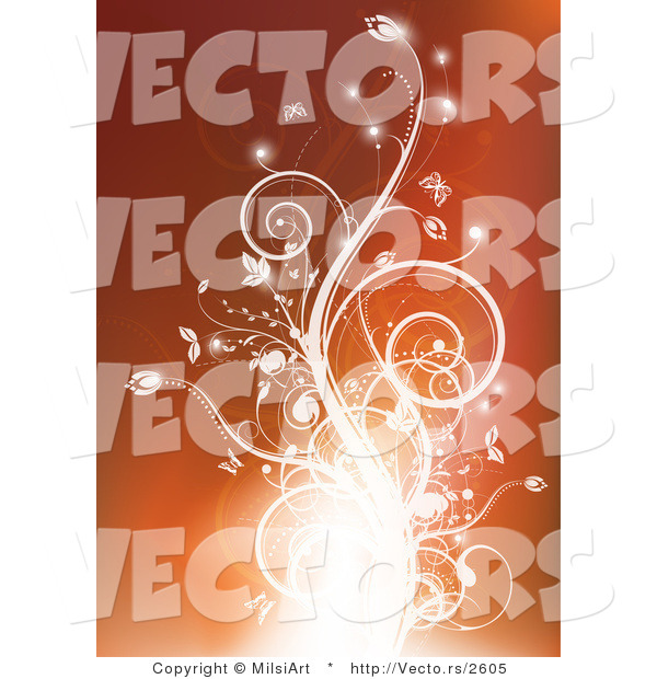 Vector of Glowing Flourish Vines on Orange Background