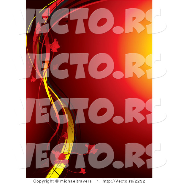 Vector of Glowing Red Orb Background with Yellow Vines and Flowers