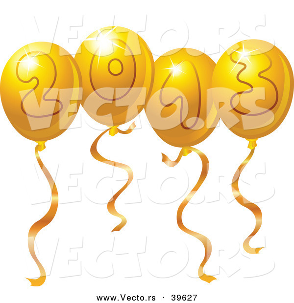 Vector of Gold 2013 Party Balloons