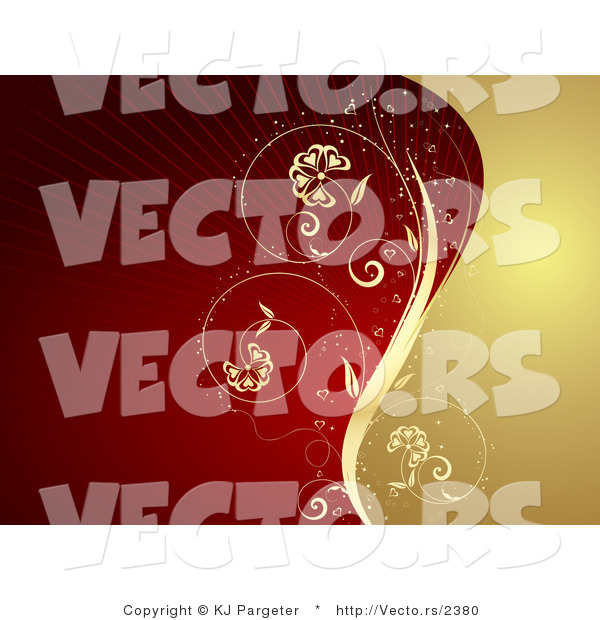 Vector of Gold Vine Dividing a Background Deep Red