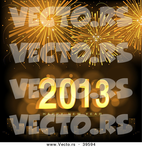 Vector of Golden Fireworks Exploding over a City with Happy New Year 2013 Text Centered