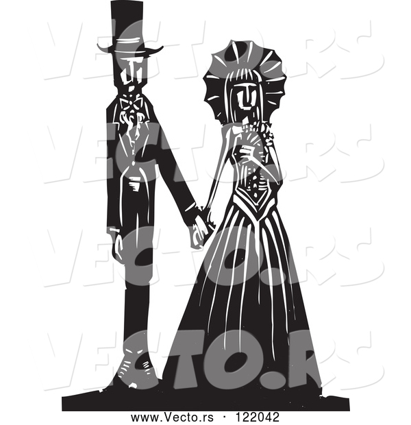 Vector of Gothic Wedding Couple Holding Hands Black and White Woodcut 1