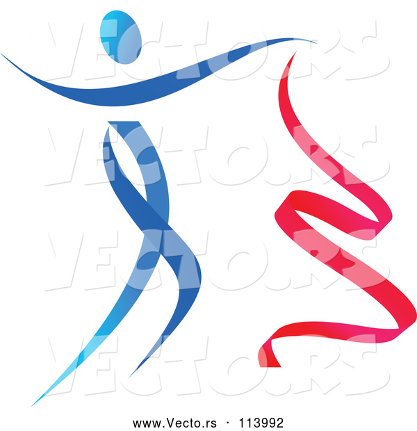 Vector of Gradient Blue and Red Ribbon Dancer in Action