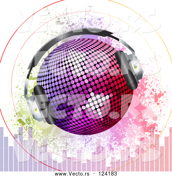 Vector of Gradient Disco Ball with Headphones Sound Signals Grunge and Equalizer Bars