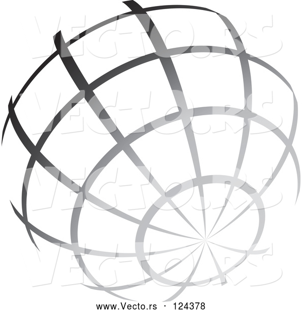 Vector of Gradient Gray Wire Globe