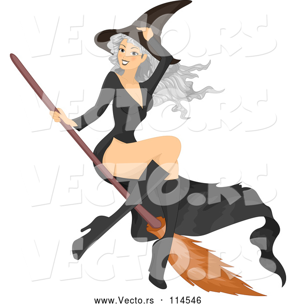 Vector of Gray Haired White Witch Lady Flying on a Broomstick